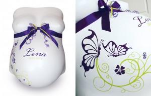 Gipsbauch mit Schmetterlingen, Ornament und Schleife in lila / grün
