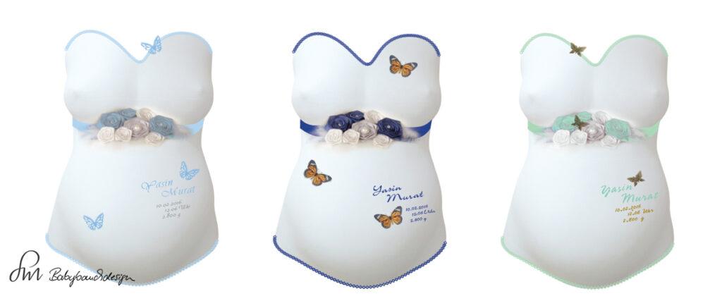 Gipsabdruck Babybauch Entwurf Bauchband Schmetterlinge