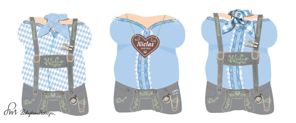 Gipsabdruck Babybauch Entwurf Lederhose