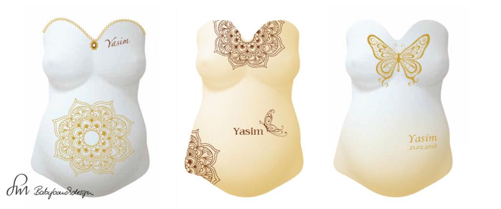 Gipsabdruck Babybauch Entwurf orientalisch Ornament